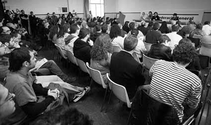 Assemblea de la CGT celebrada el 3 de maig per parlar de l'edifici sindical
