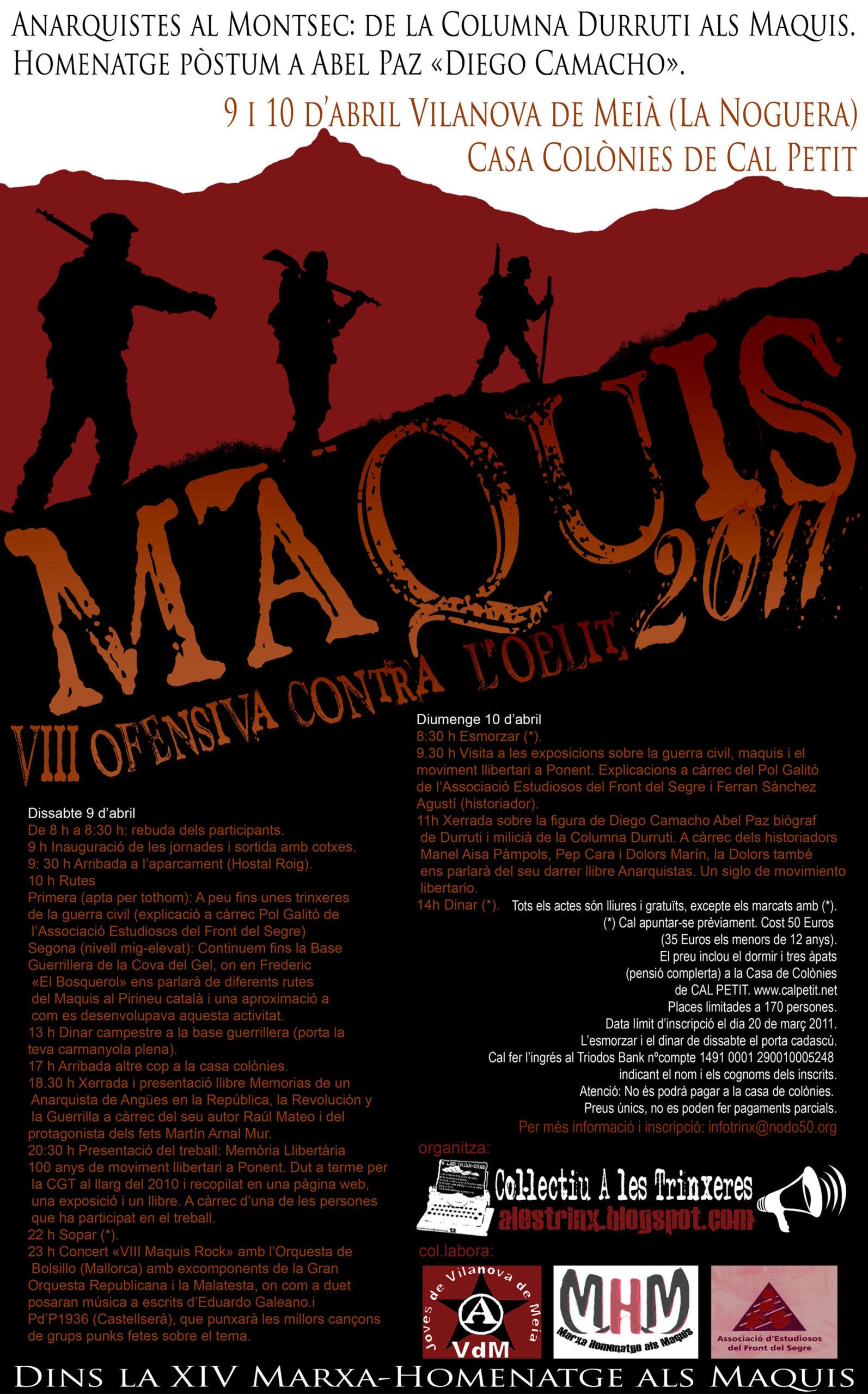MAQUIS VIII OFENSIVA CONTRA L'OBLIT Vilanova de Meià 9 i 10 abril 2011