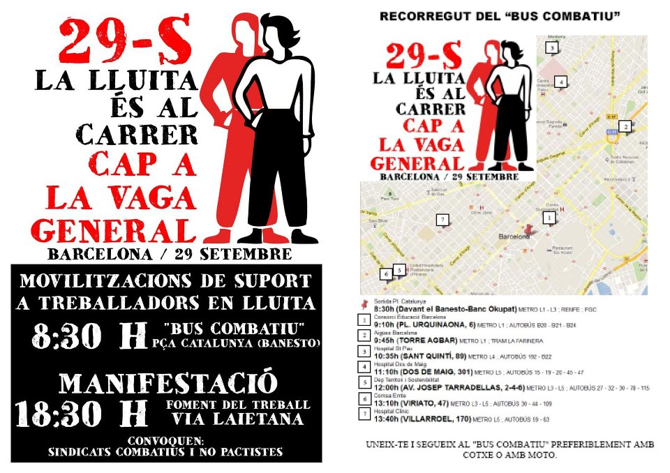 cartell itinerari bus reivindicatiu i manifestació 29-S