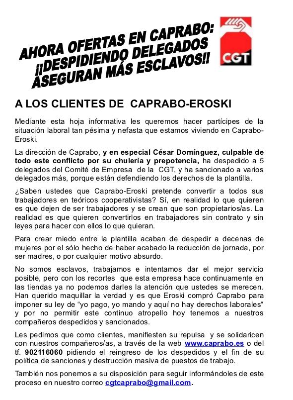 A LOS CLIENTES DE CAPRABO