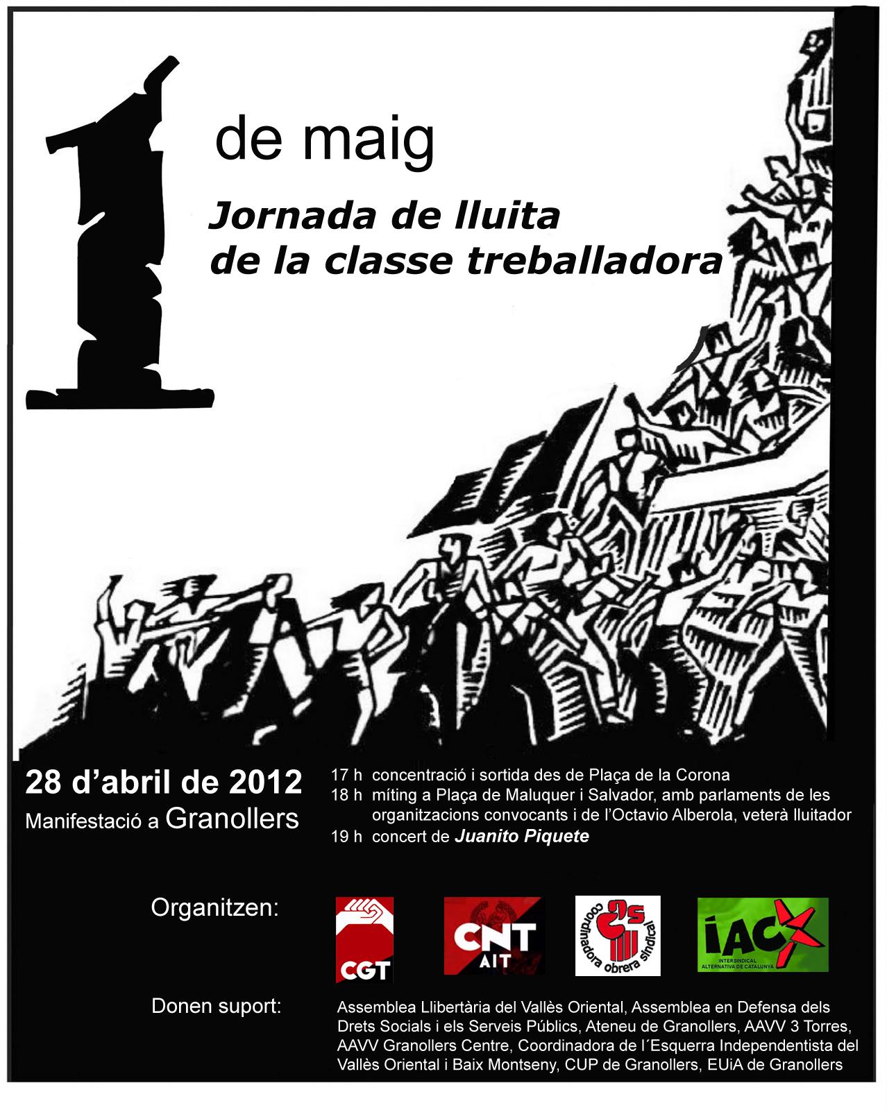 Cartell manifestacio 1r Maig a Granollers