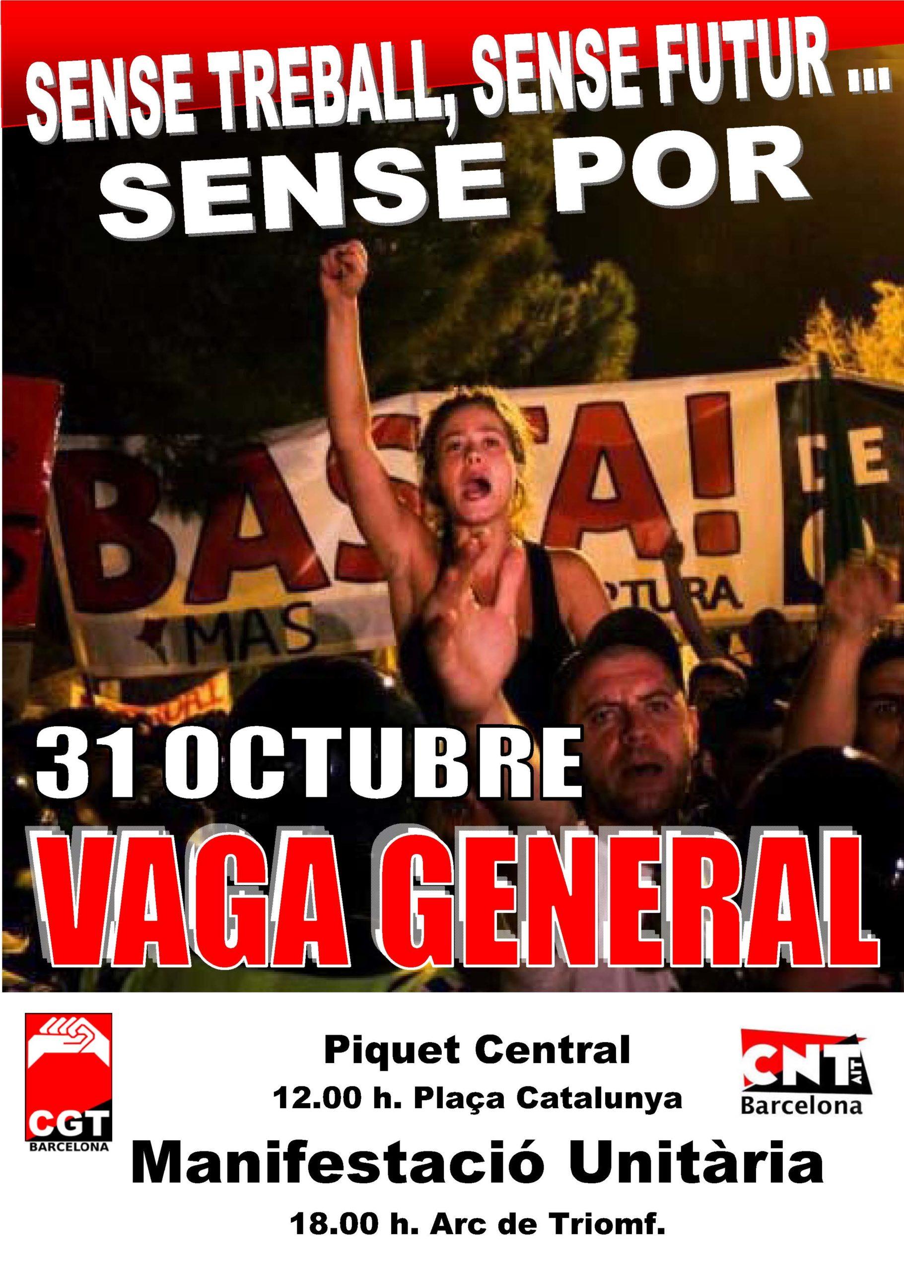 Cartell piquet unitari i manifestació Barcelona