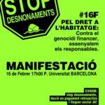 Cartell manifestació PAH Barcelona 16F