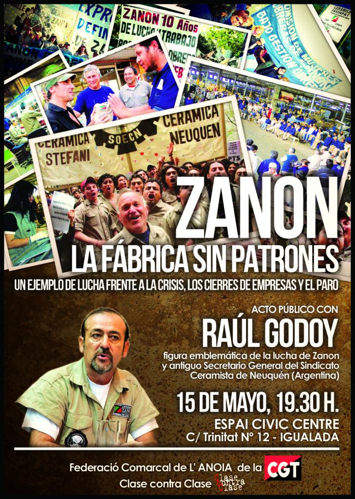 Cartell Xerrada Zanon a Igualada