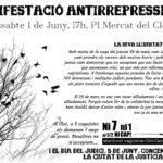 Cartell manifestació antirepressiva 1 juny Barcelona