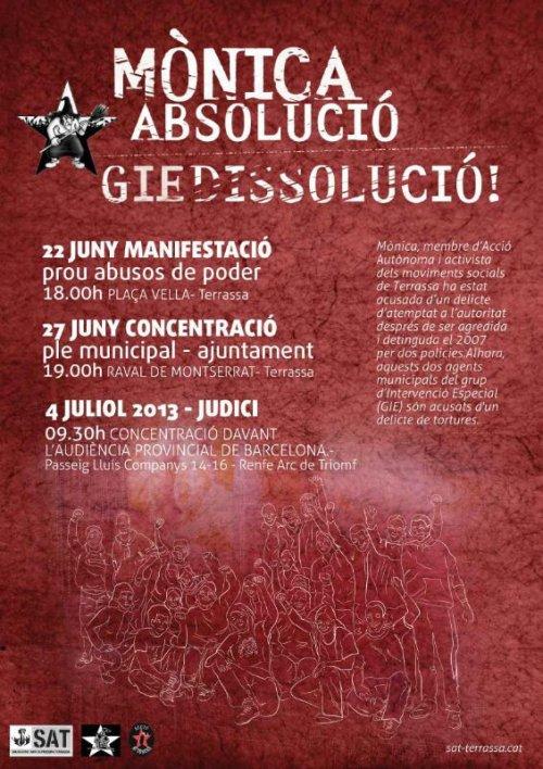 Cartell mobilitzacions solidaritat Mònica