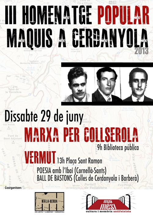 Cartell III Homentage popular maquis Cerdanyola
