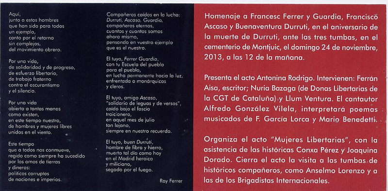 Targetó homenatge a Ferrer i Guàrdia, Ascaso i Durruti 2013