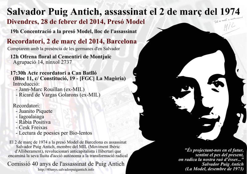 Cartell actes 40 anys assassinat Puig Antich